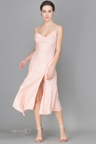 SALMON PINK SATIN CAMI DRESS