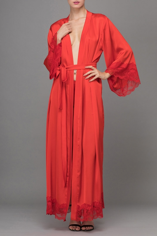 LONG RED SATIN LACED KIMONO