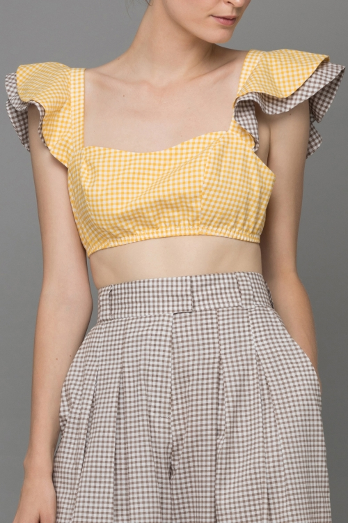 YELLOW BROWN GINGHAM ANGEL CROP - TOP
