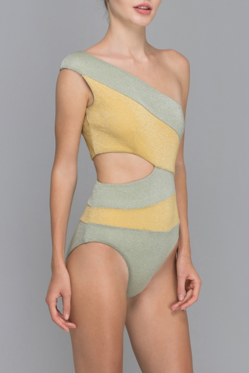 SUNNY YOUNG GRASS CROSS SHOULDER SWIMSUIT