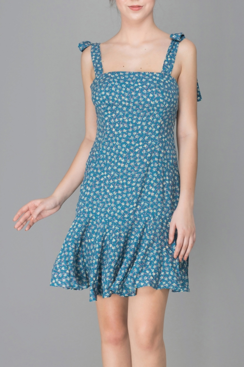 TEAL FLORAL SWING DRESS