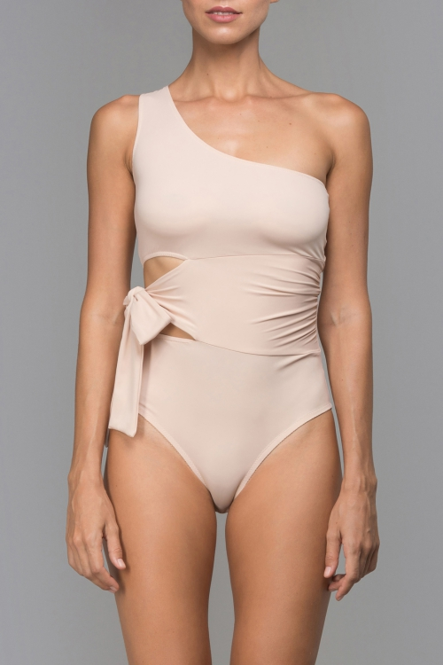 NUDE ONE SHOULDER BODYSUIT
